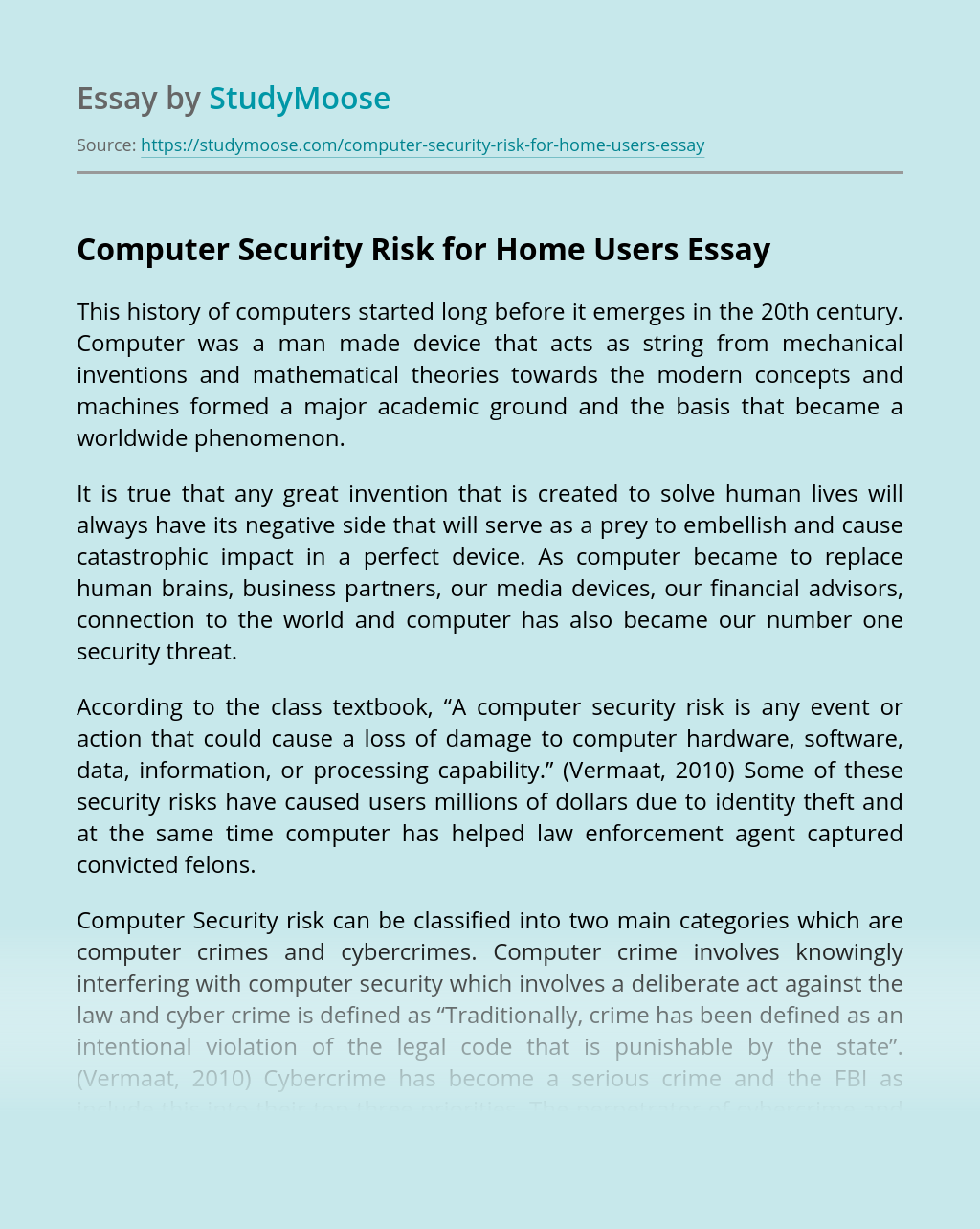 Computer Security Risk for Home Users