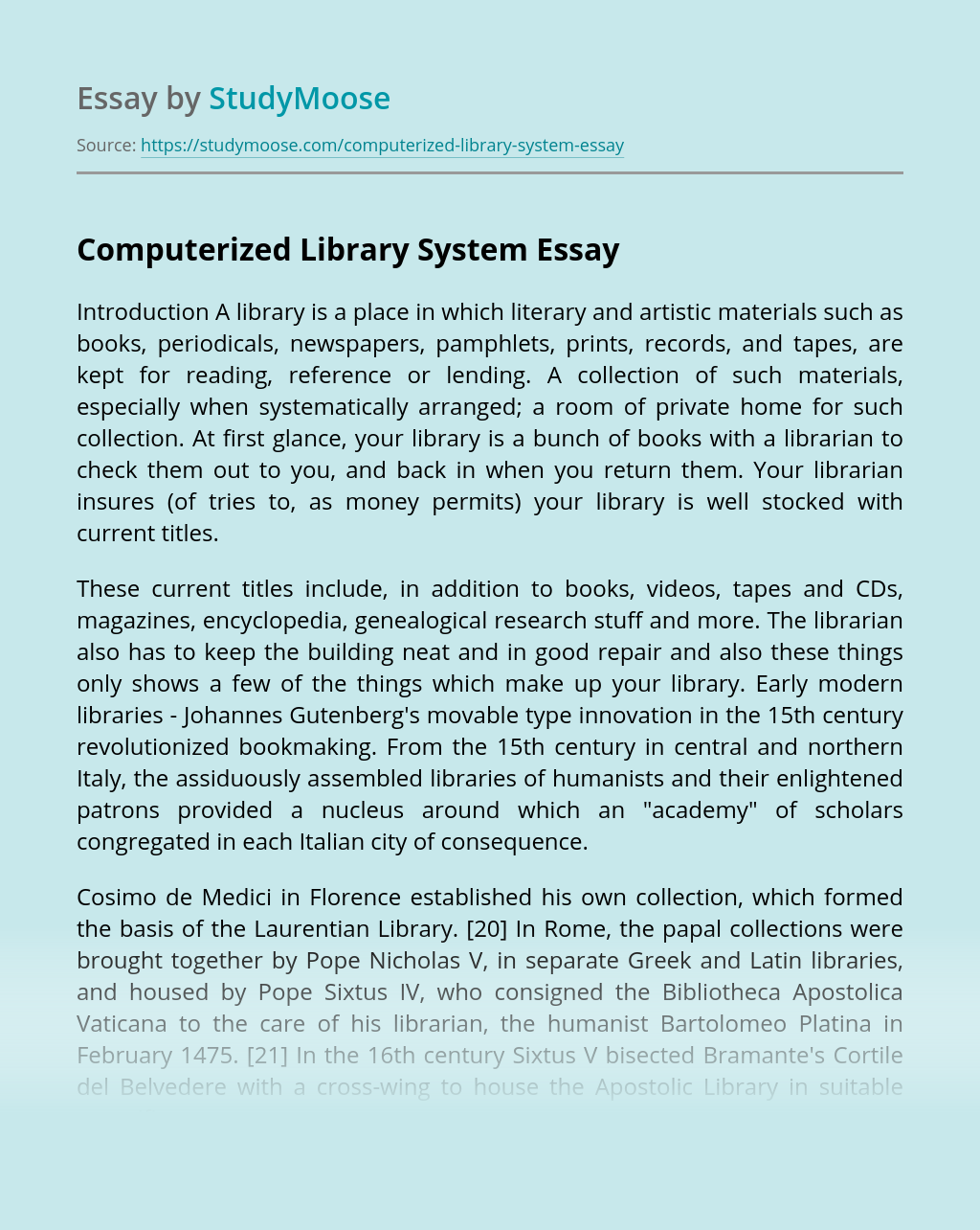 Computerized Library System