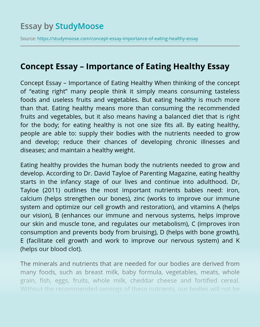 Concept Essay – Importance of Eating Healthy