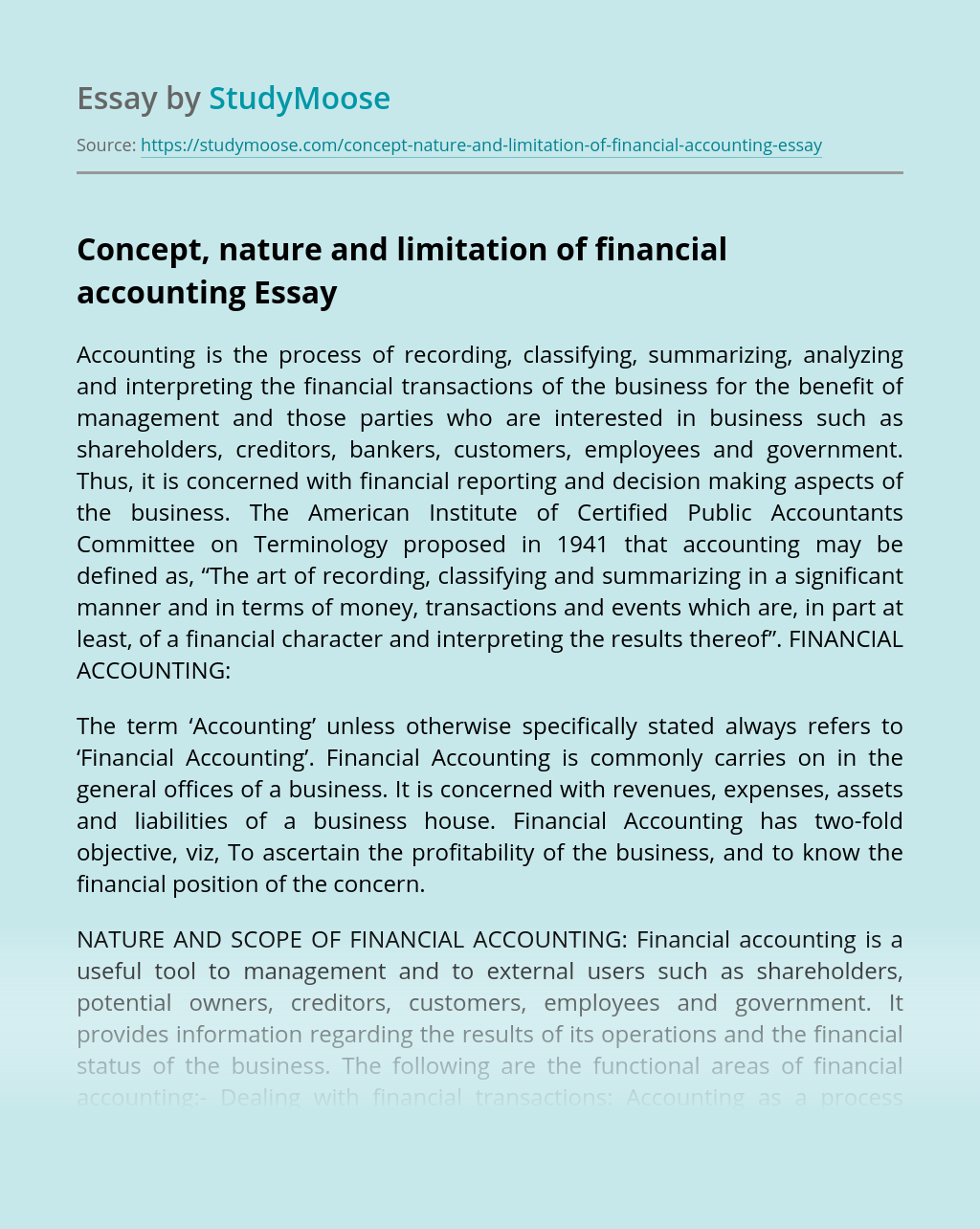 Concept, nature and limitation of financial accounting