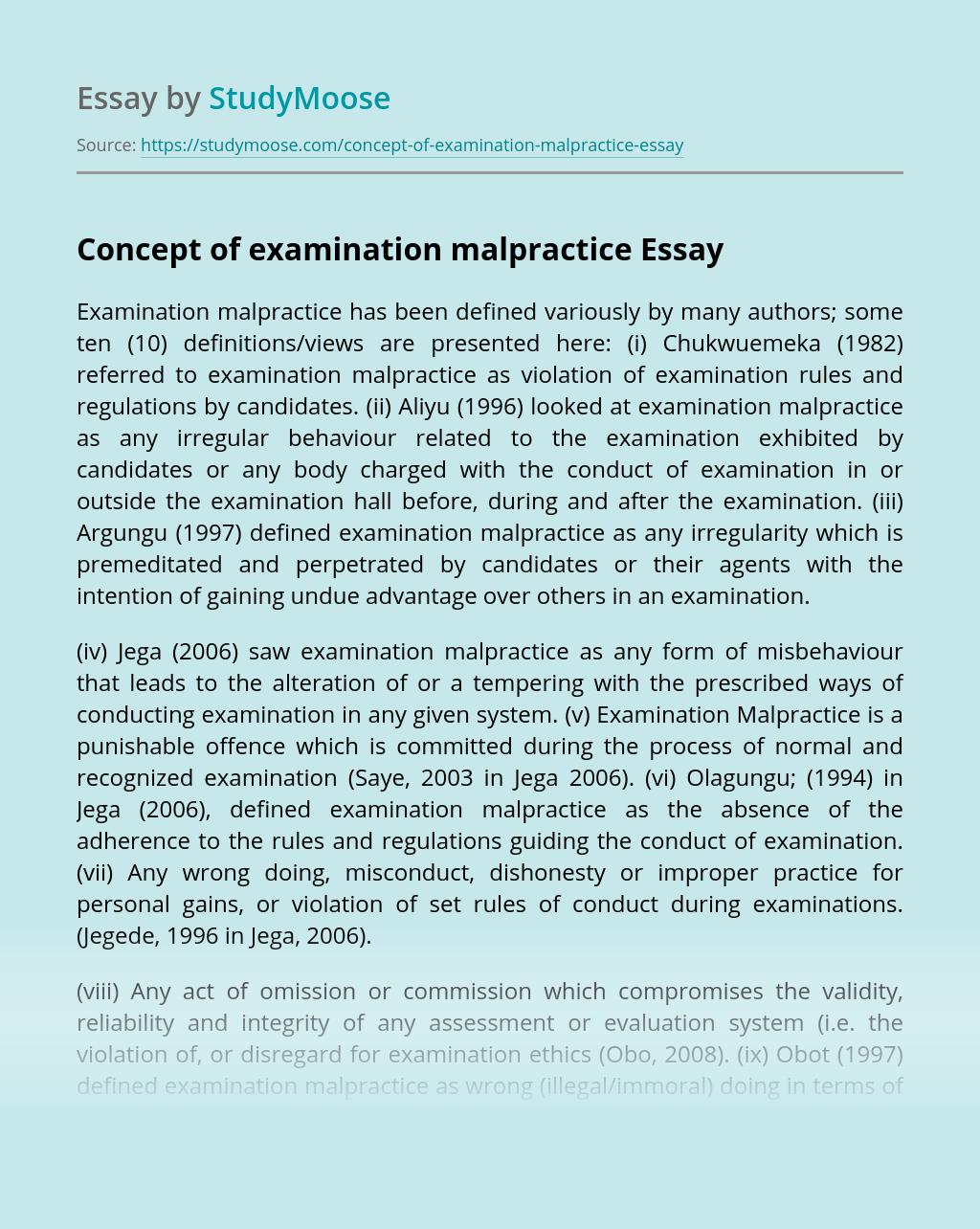Concept of examination malpractice