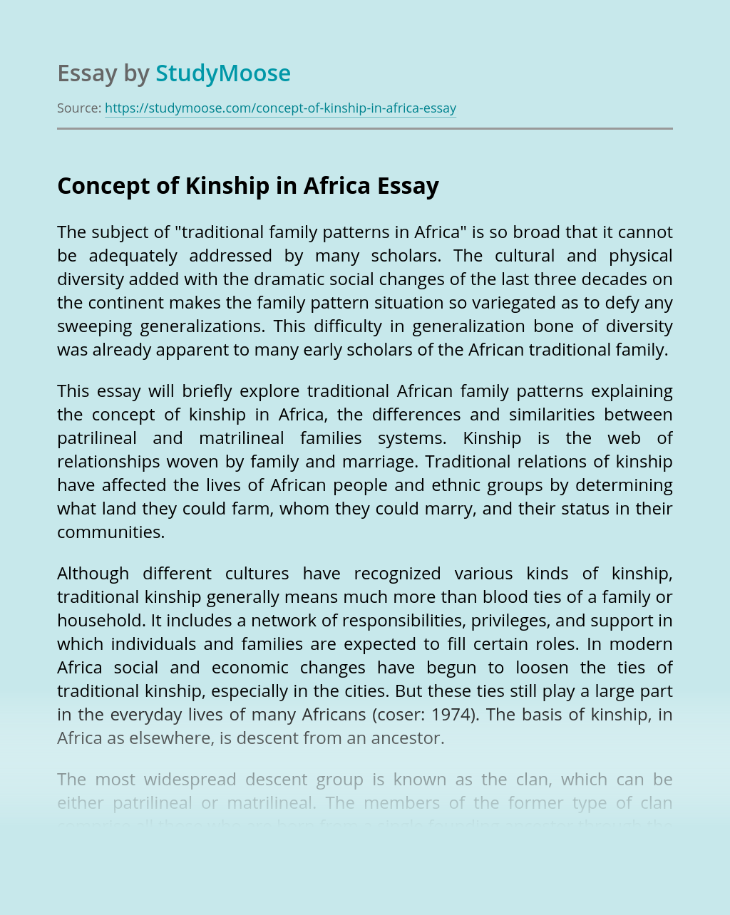 Concept of Kinship in Africa