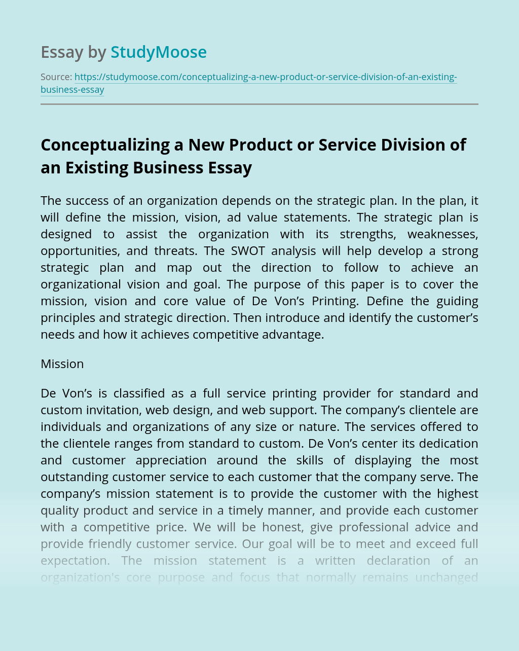 Conceptualizing a New Product or Service Division of an Existing Business