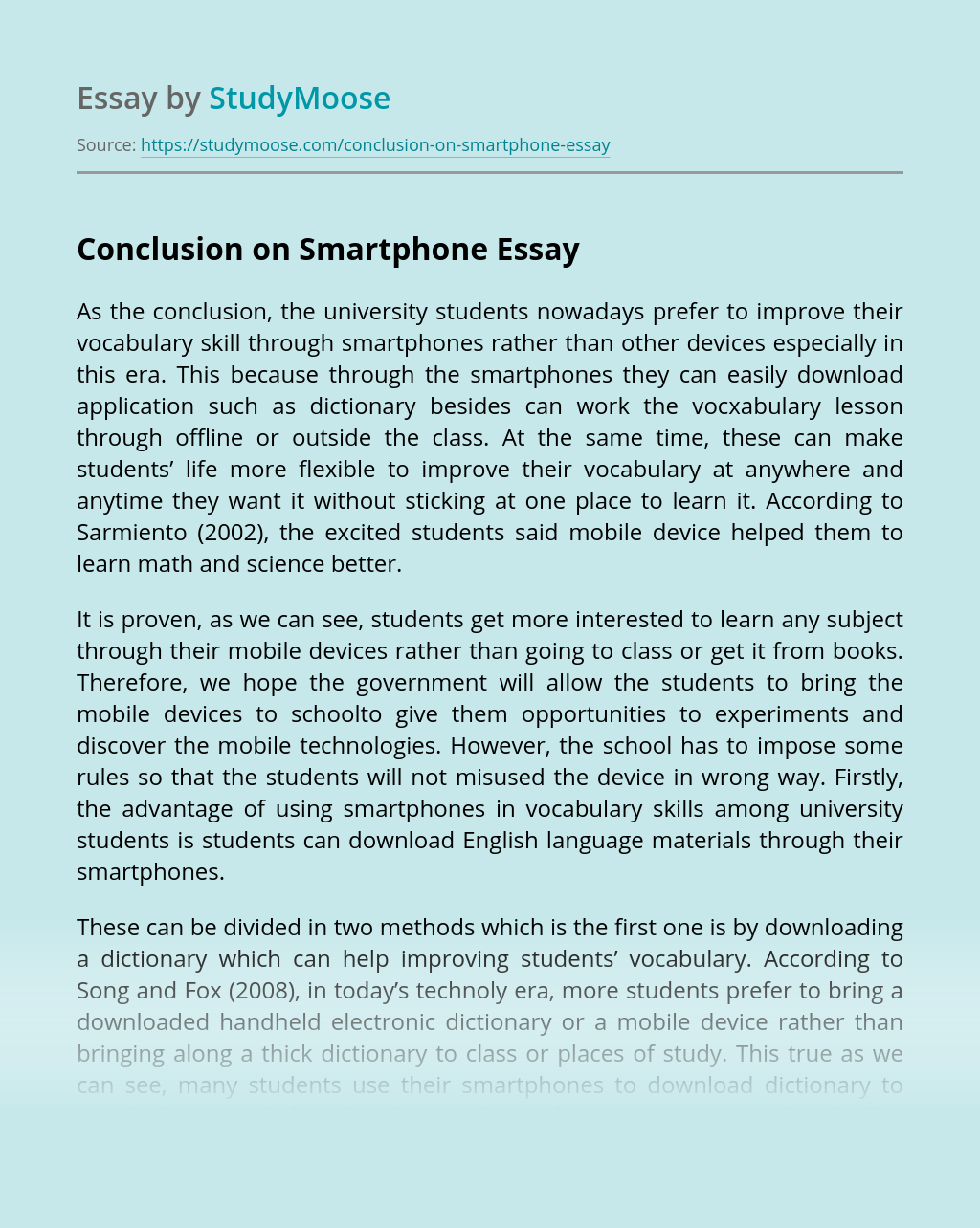 Conclusion on Smartphone