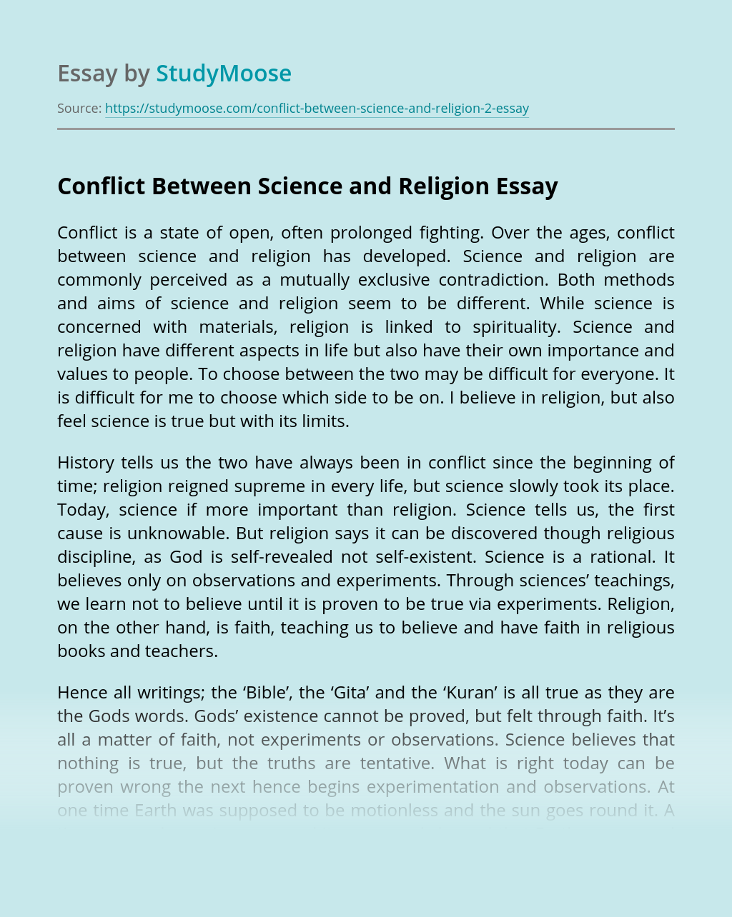 Conflict Between Science and Religion