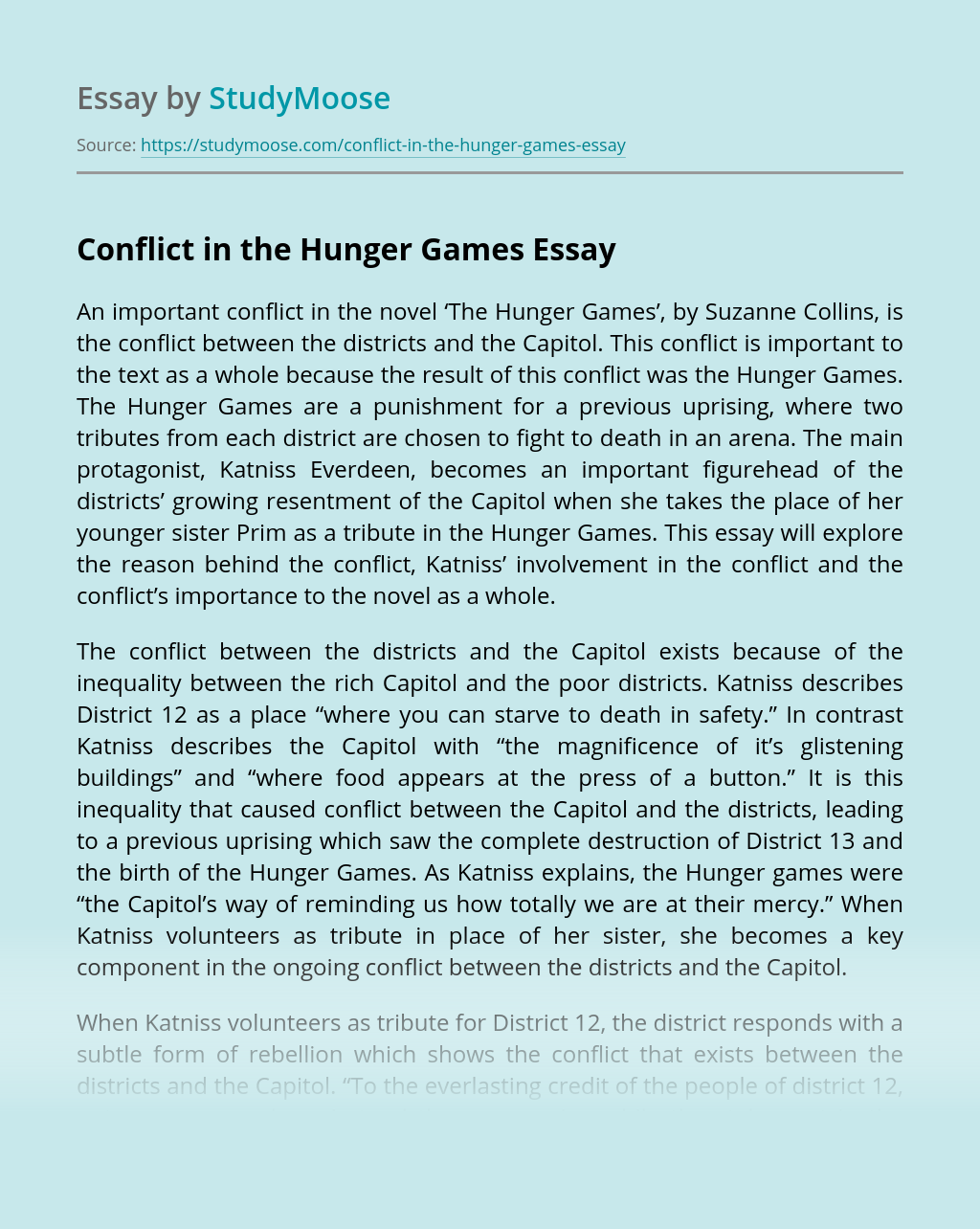 Conflict in the Hunger Games