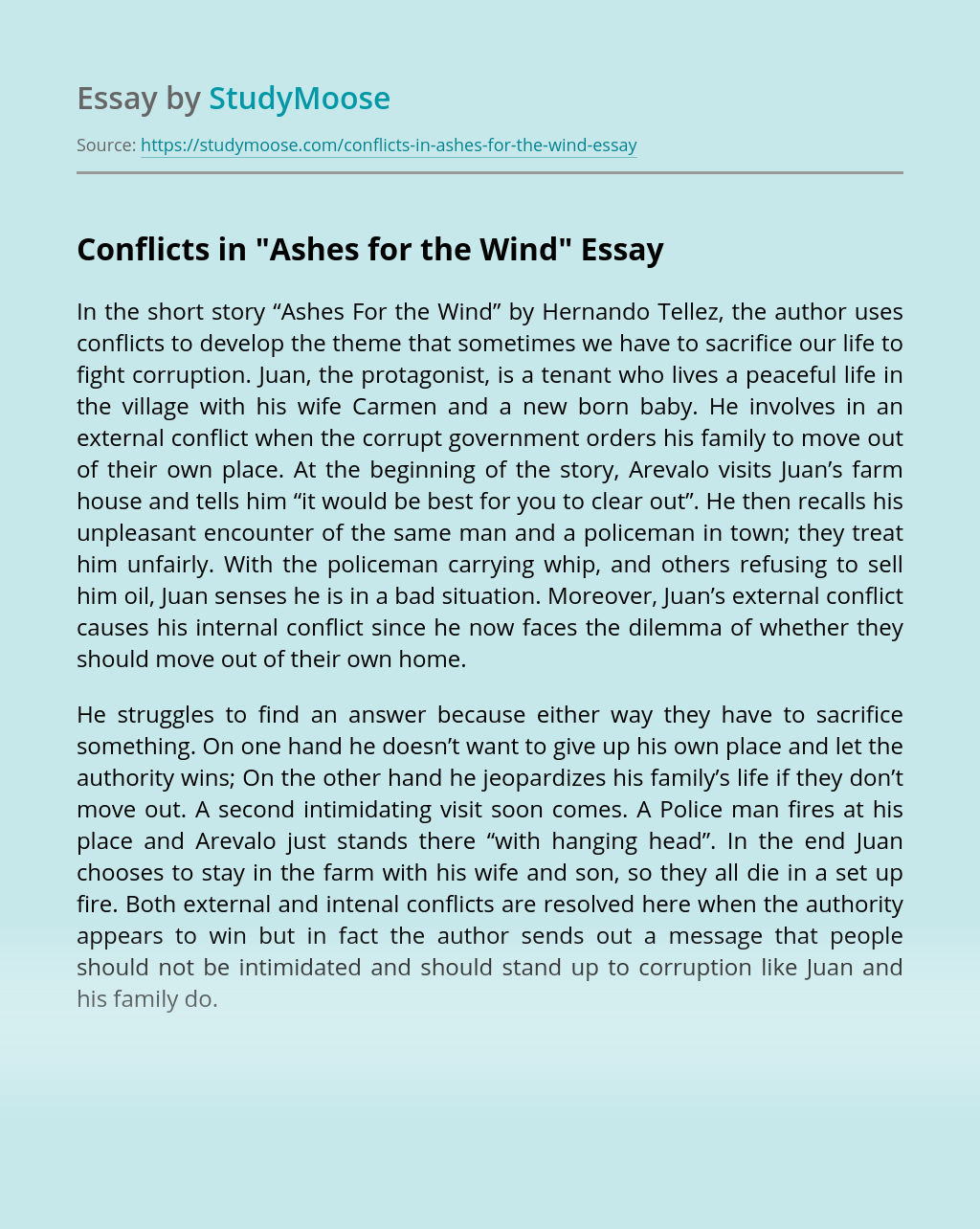 "Conflicts in ""Ashes for the Wind"""