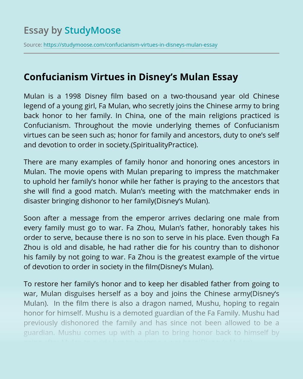 Confucianism Virtues in Disney's Mulan