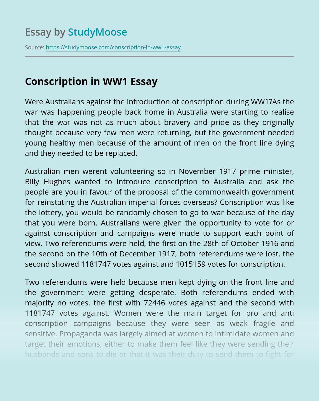 Conscription in WW1