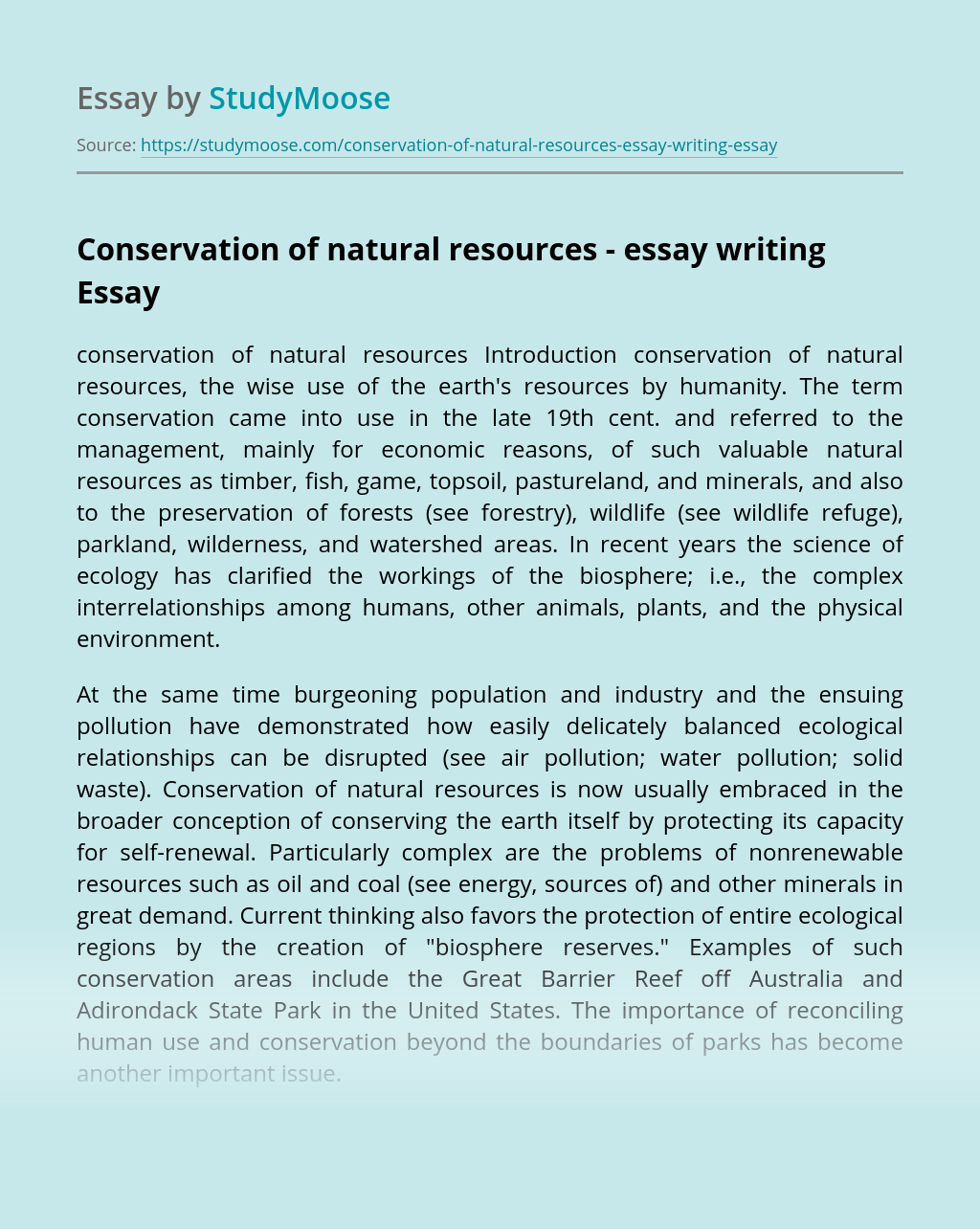 Conservation of natural resources - essay writing