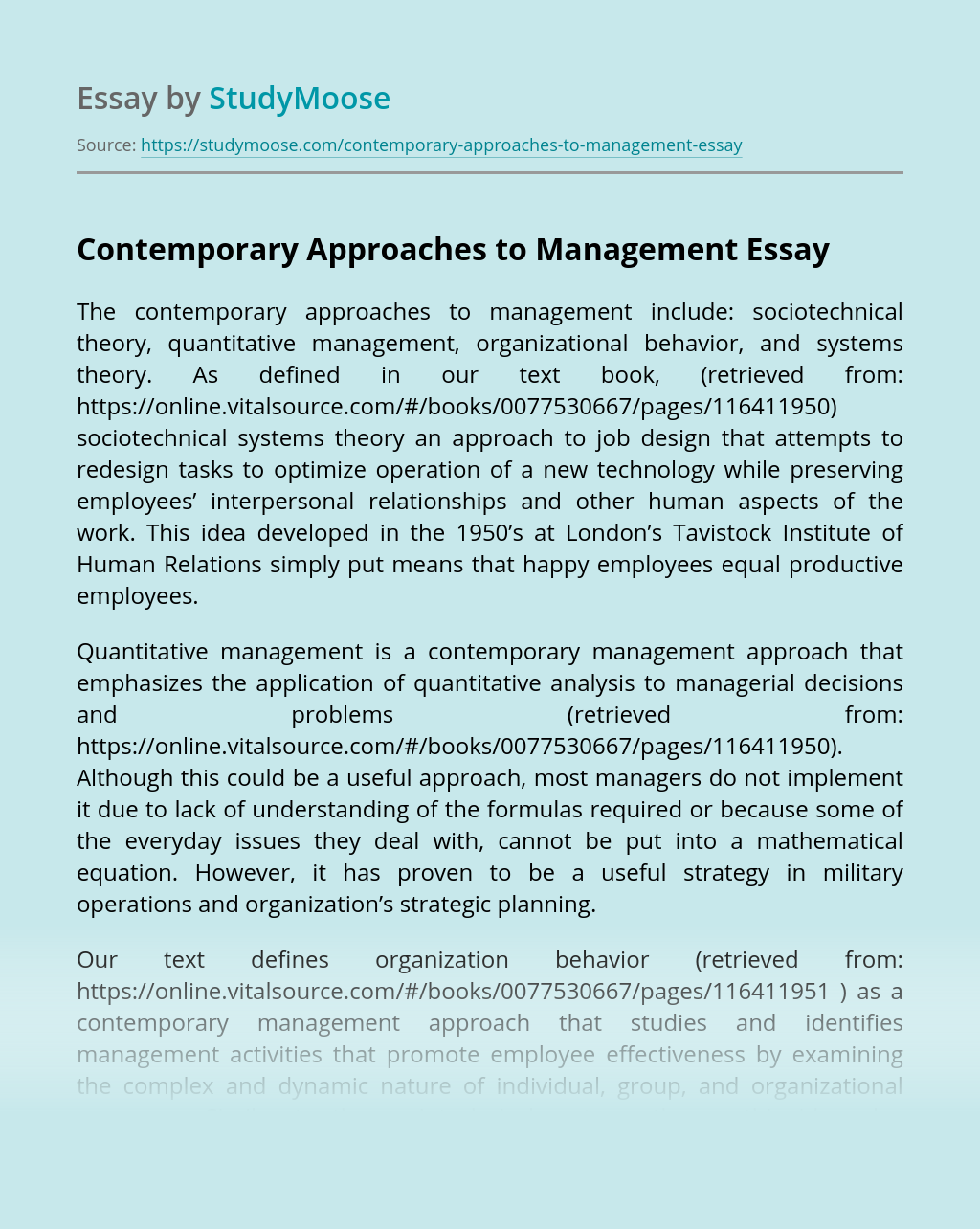 Contemporary Approaches to Management