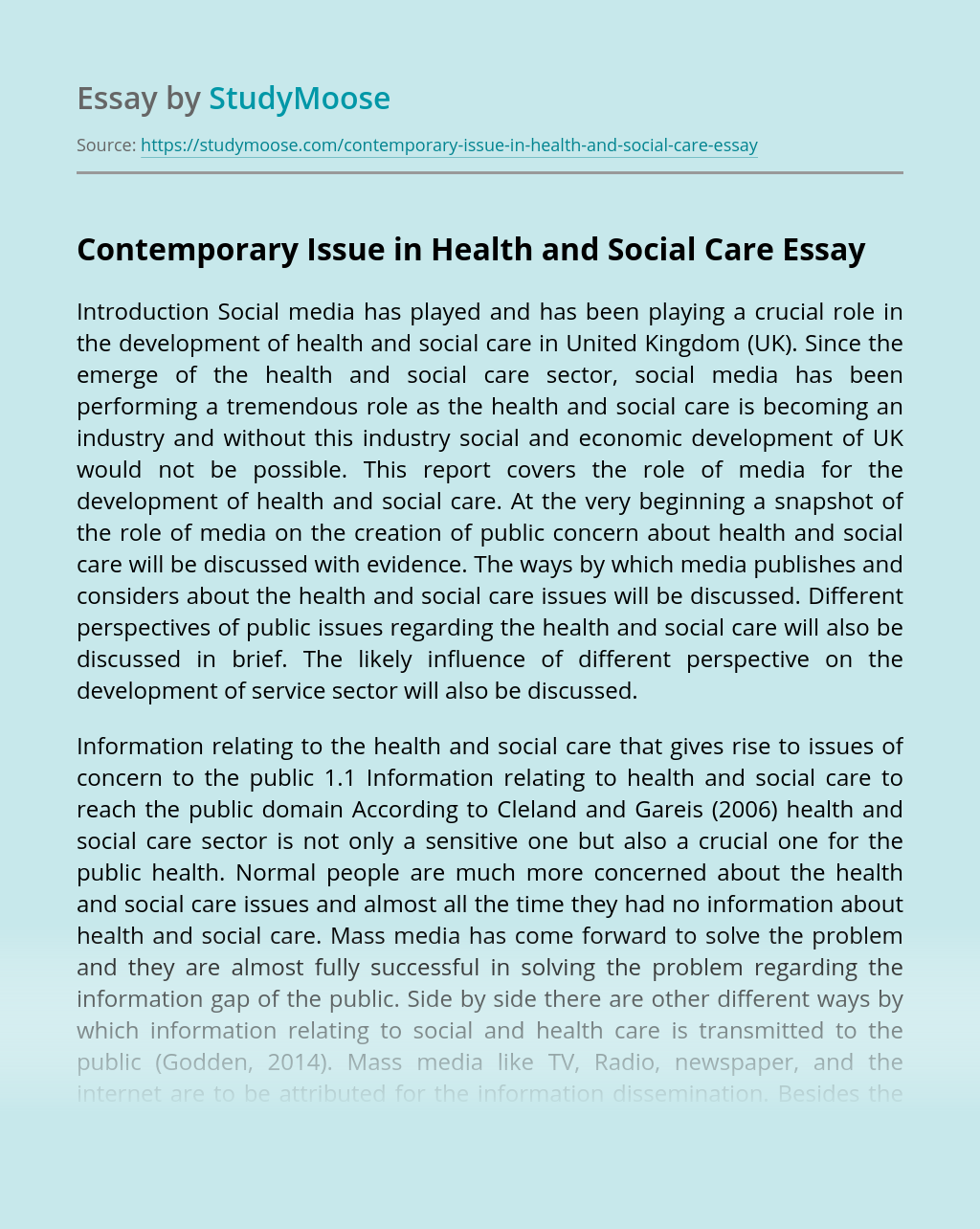 Contemporary Issue in Health and Social Care