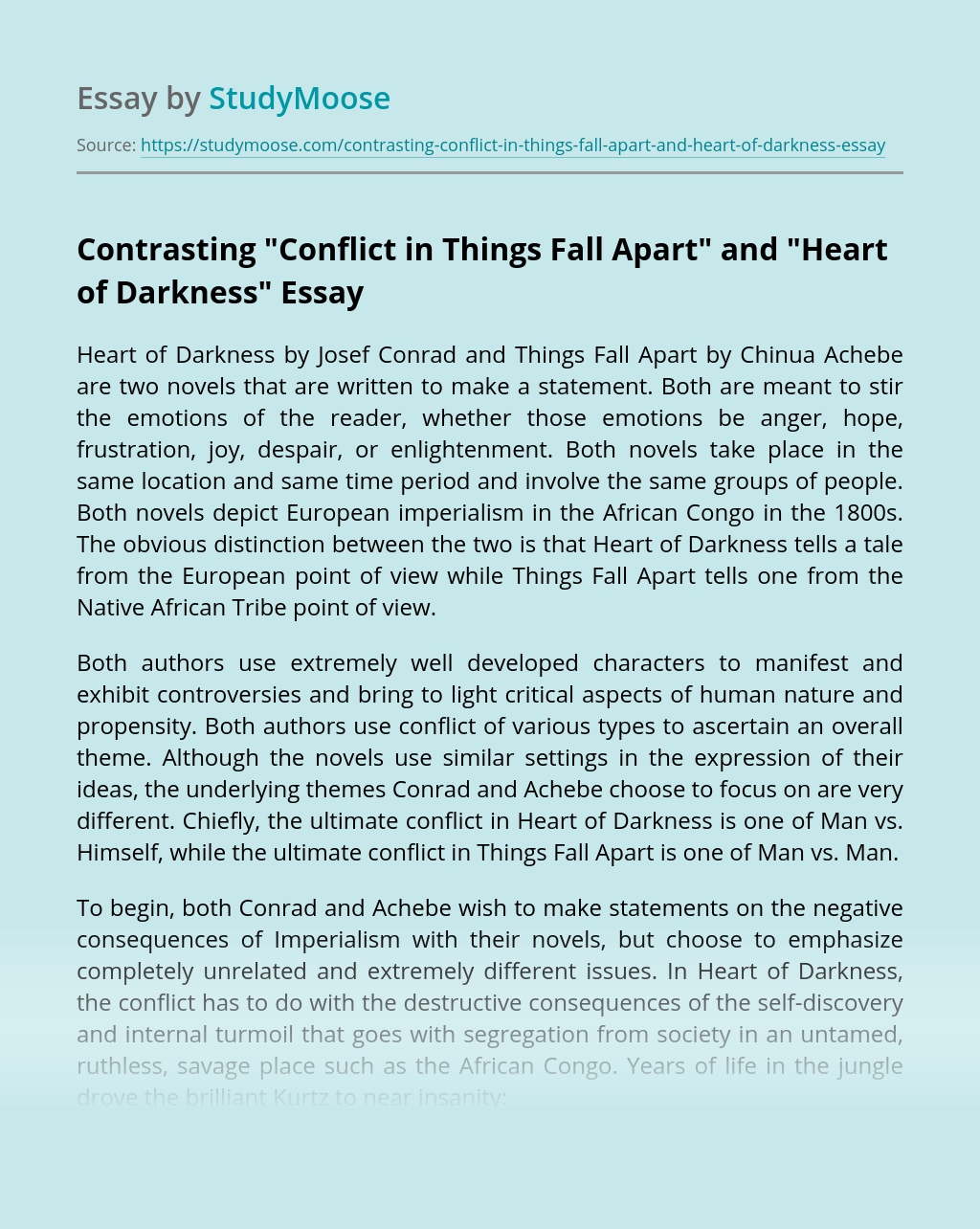 "Contrasting ""Conflict in Things Fall Apart"" and ""Heart of Darkness"""