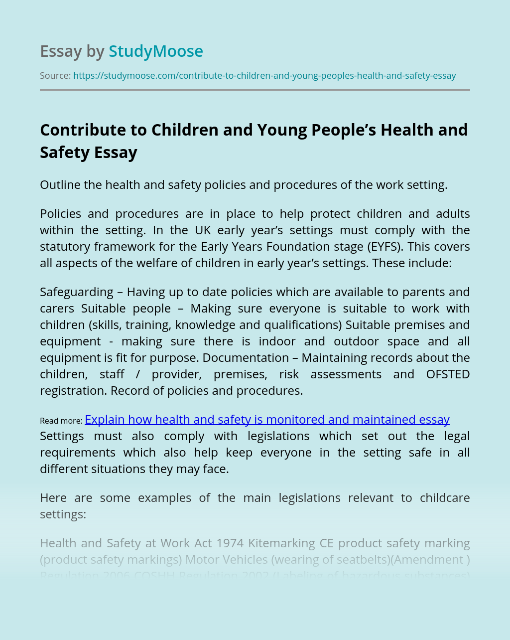 Contribute to Children and Young People's Health and Safety