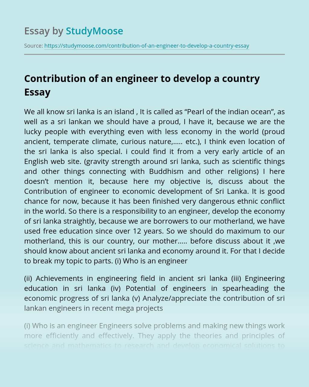 Contribution of an engineer to develop a country