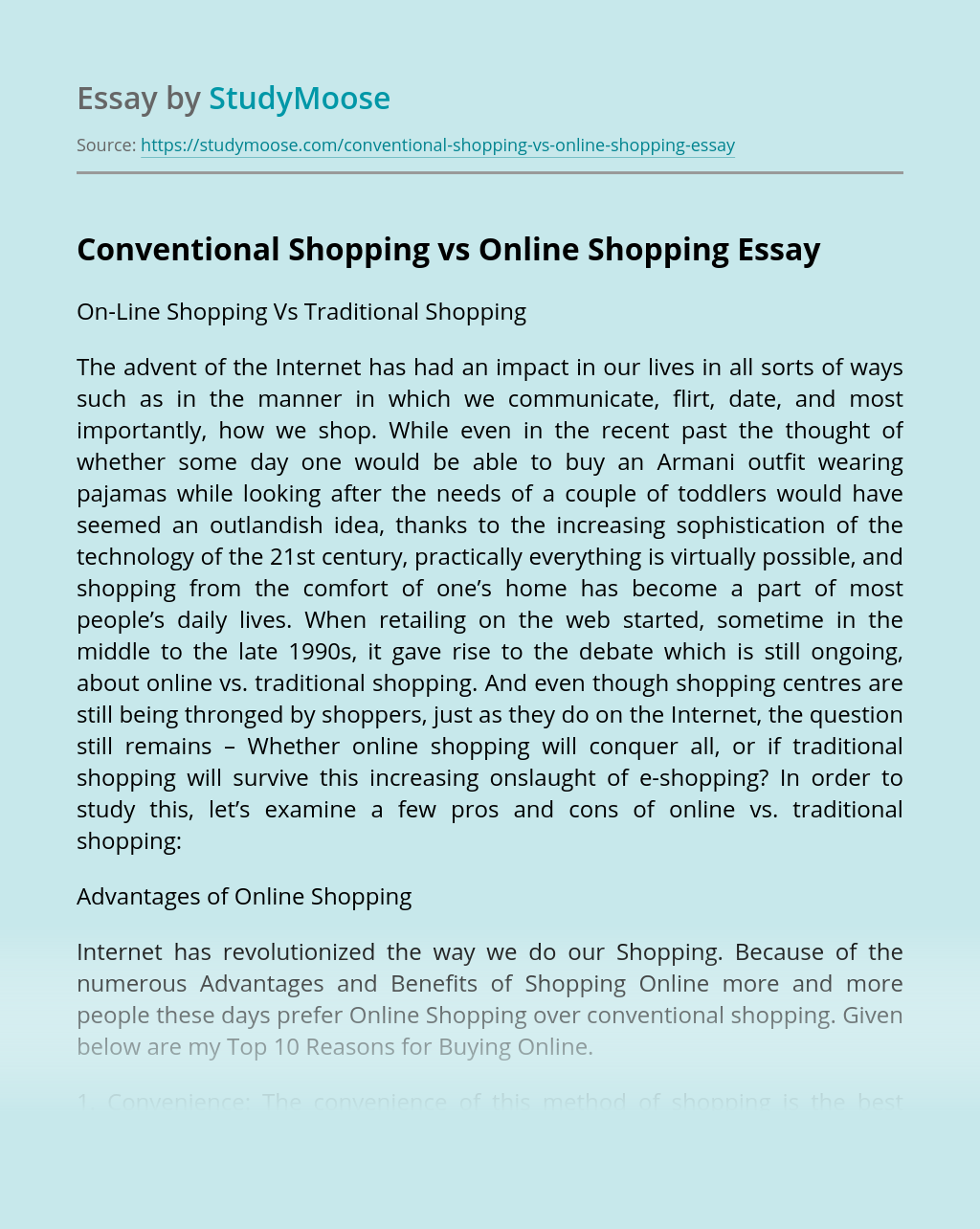 Conventional Shopping vs Online Shopping