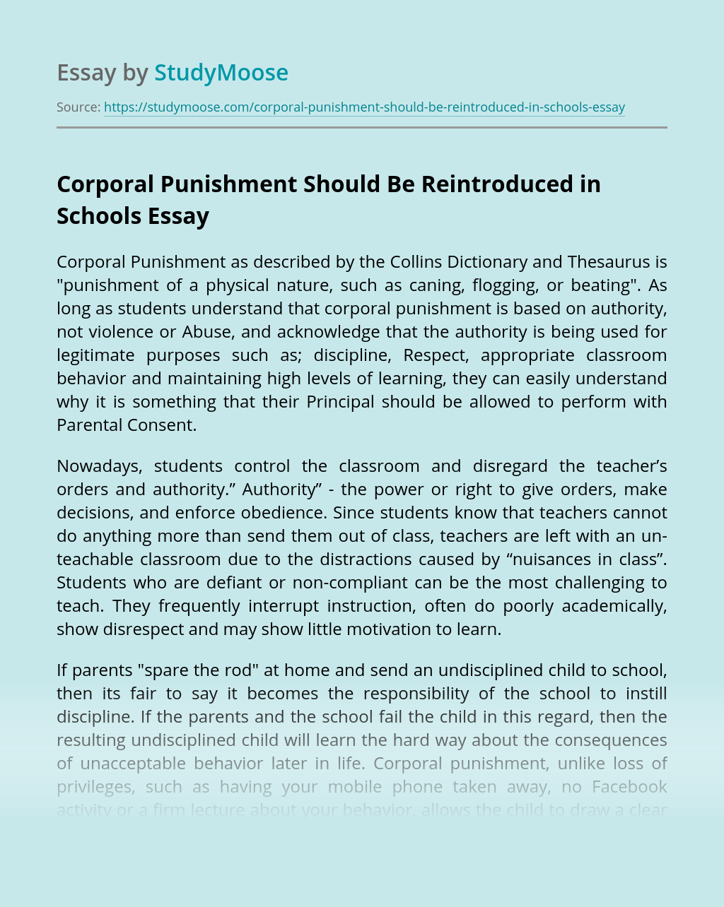 Corporal Punishment Should Be Reintroduced in Schools