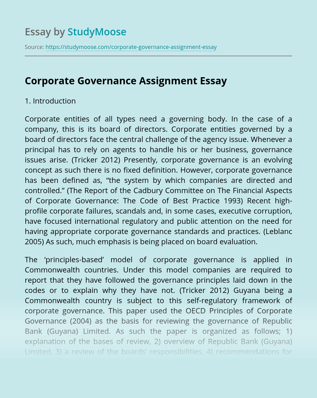 Corporate Governance Assignment
