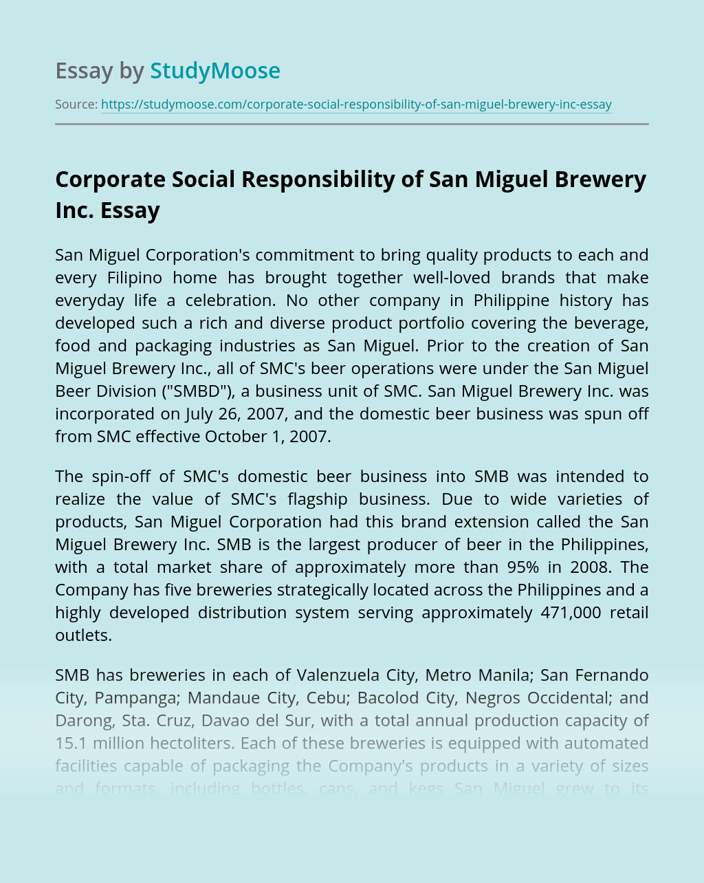 Corporate Social Responsibility of San Miguel Brewery Inc.