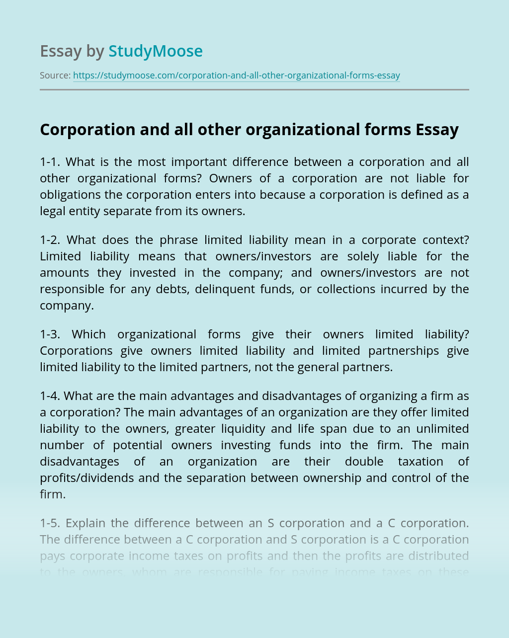 Corporation and all other organizational forms
