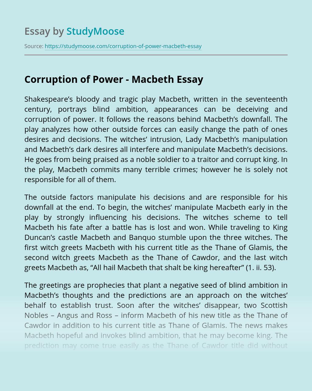 Corruption of Power - Macbeth