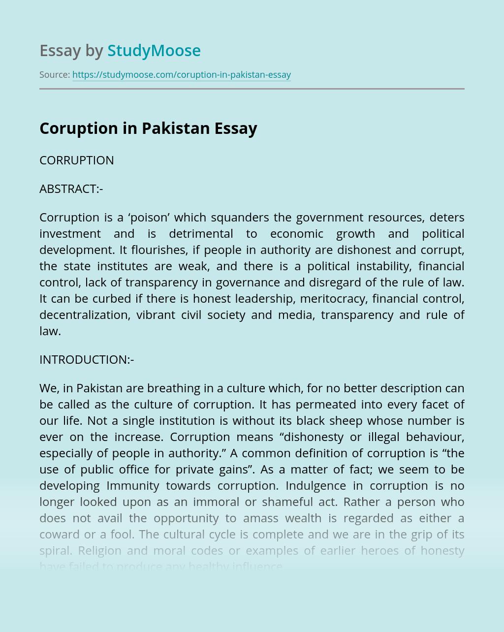 Coruption in Pakistan