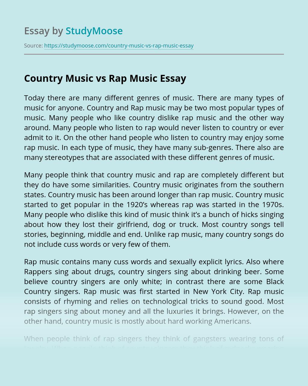 Country Music vs Rap Music