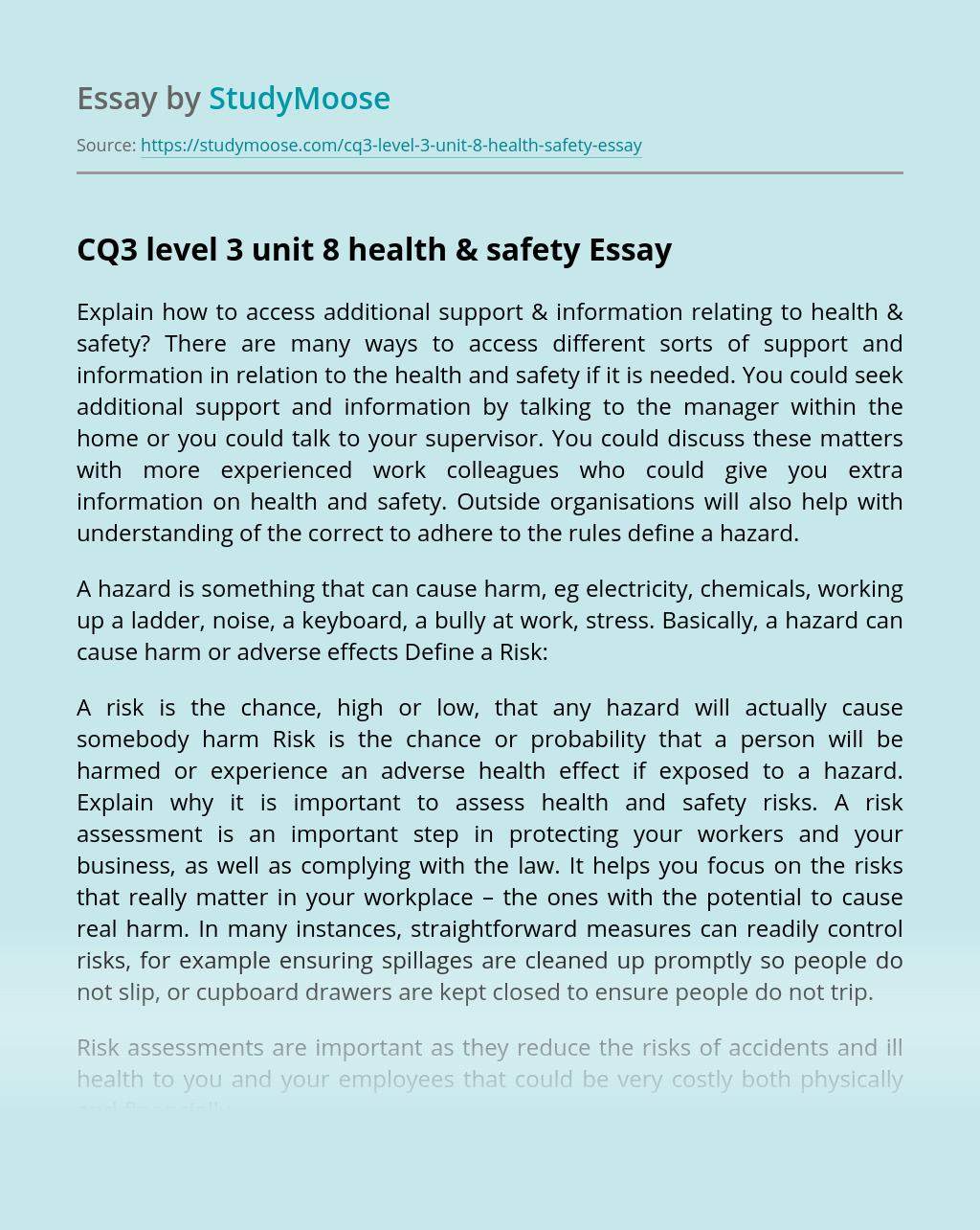 CQ3 level 3 unit 8 health & safety