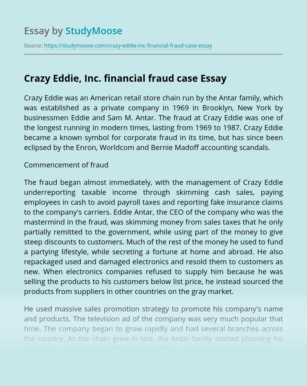 Crazy Eddie, Inc. financial fraud case