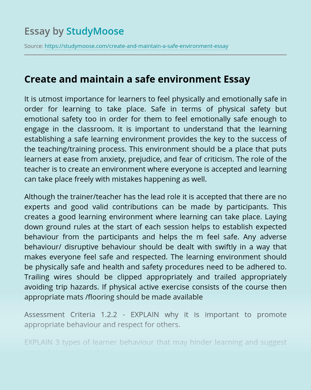 Create and maintain a safe environment