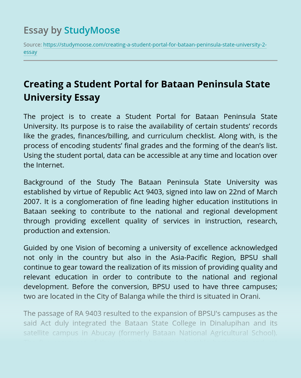 Creating a Student Portal for Bataan Peninsula State University