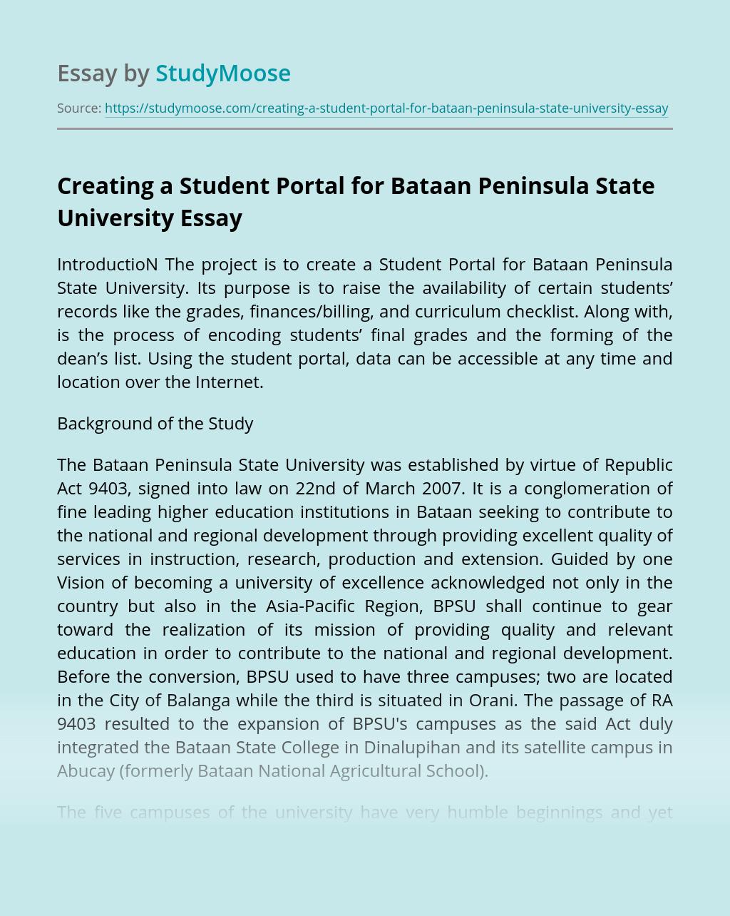 Creating a Student Portal for Bataan Peninsula State University