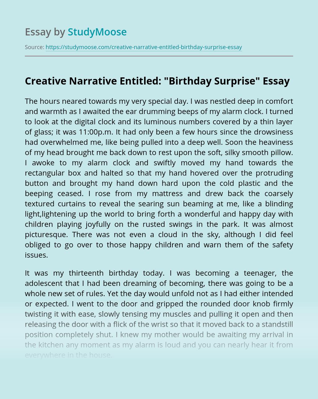 "Creative Narrative Entitled: ""Birthday Surprise"""