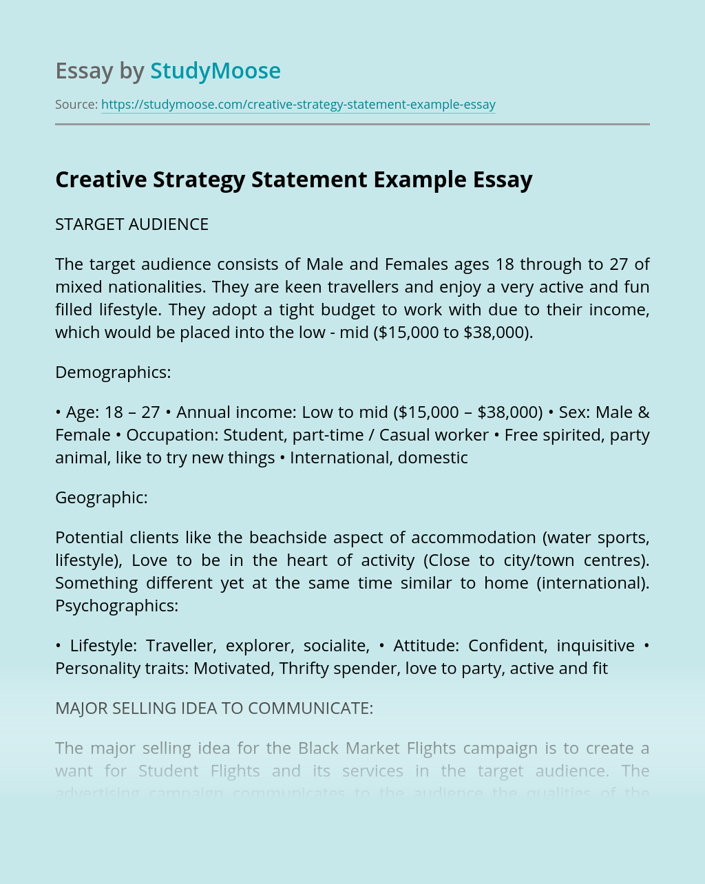 Creative Strategy Statement Example