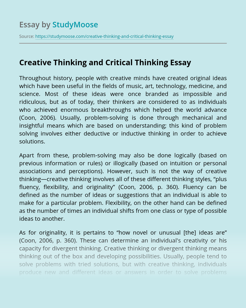 Creative Thinking and Critical Thinking
