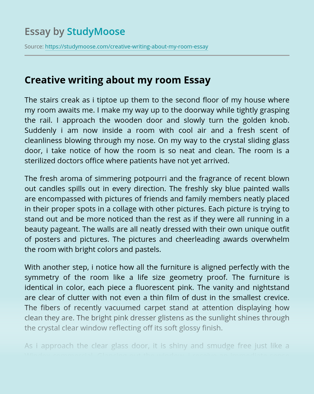 Creative writing about my room