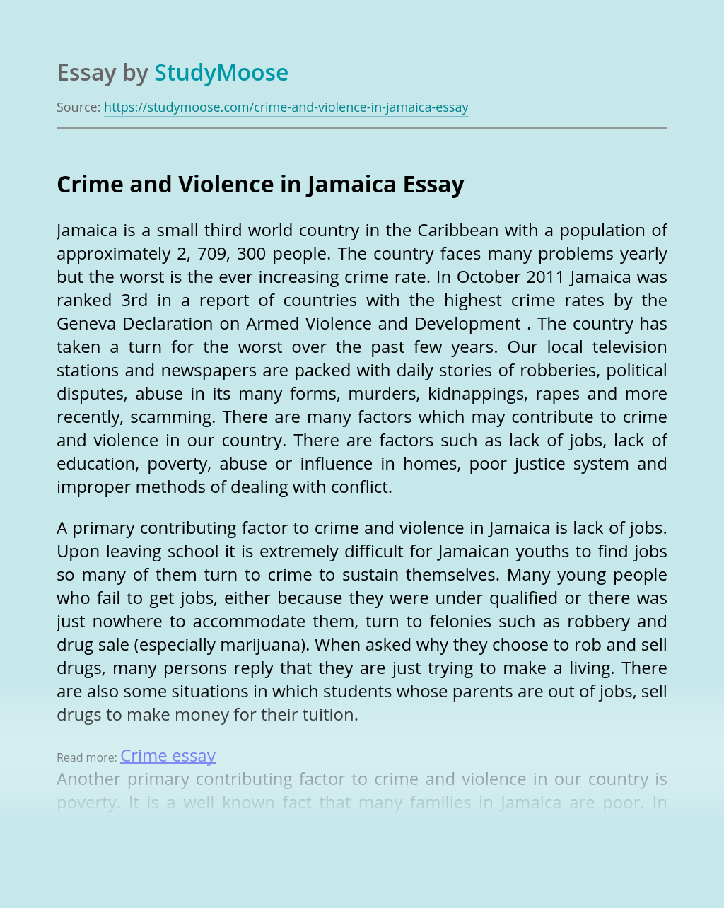 Crime and Violence in Jamaica