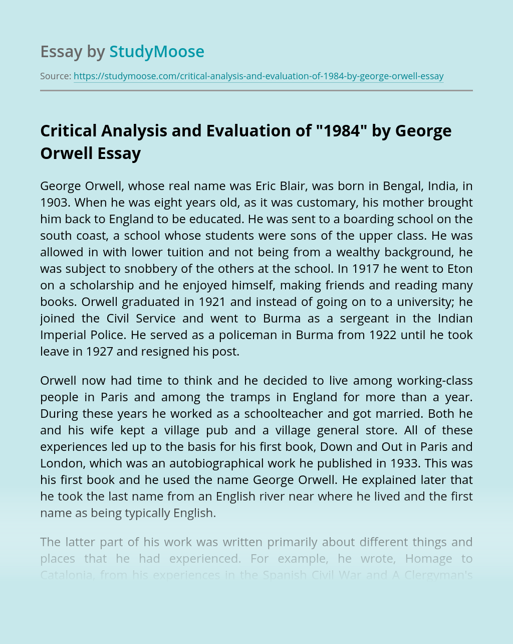 """Critical Analysis and Evaluation of """"1984"""" by George Orwell"""