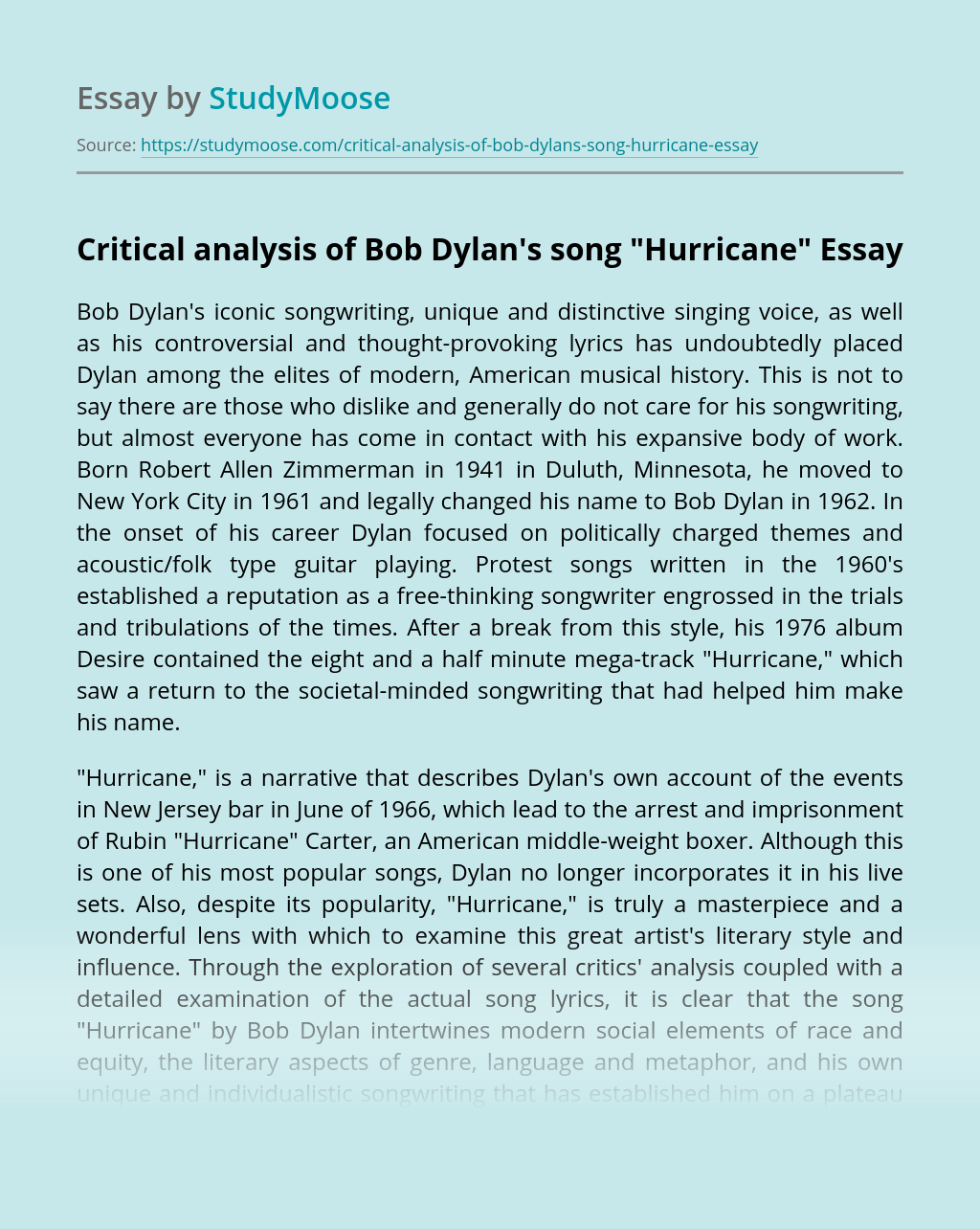 "Critical Analysis of Bob Dylan's Song ""Hurricane"""