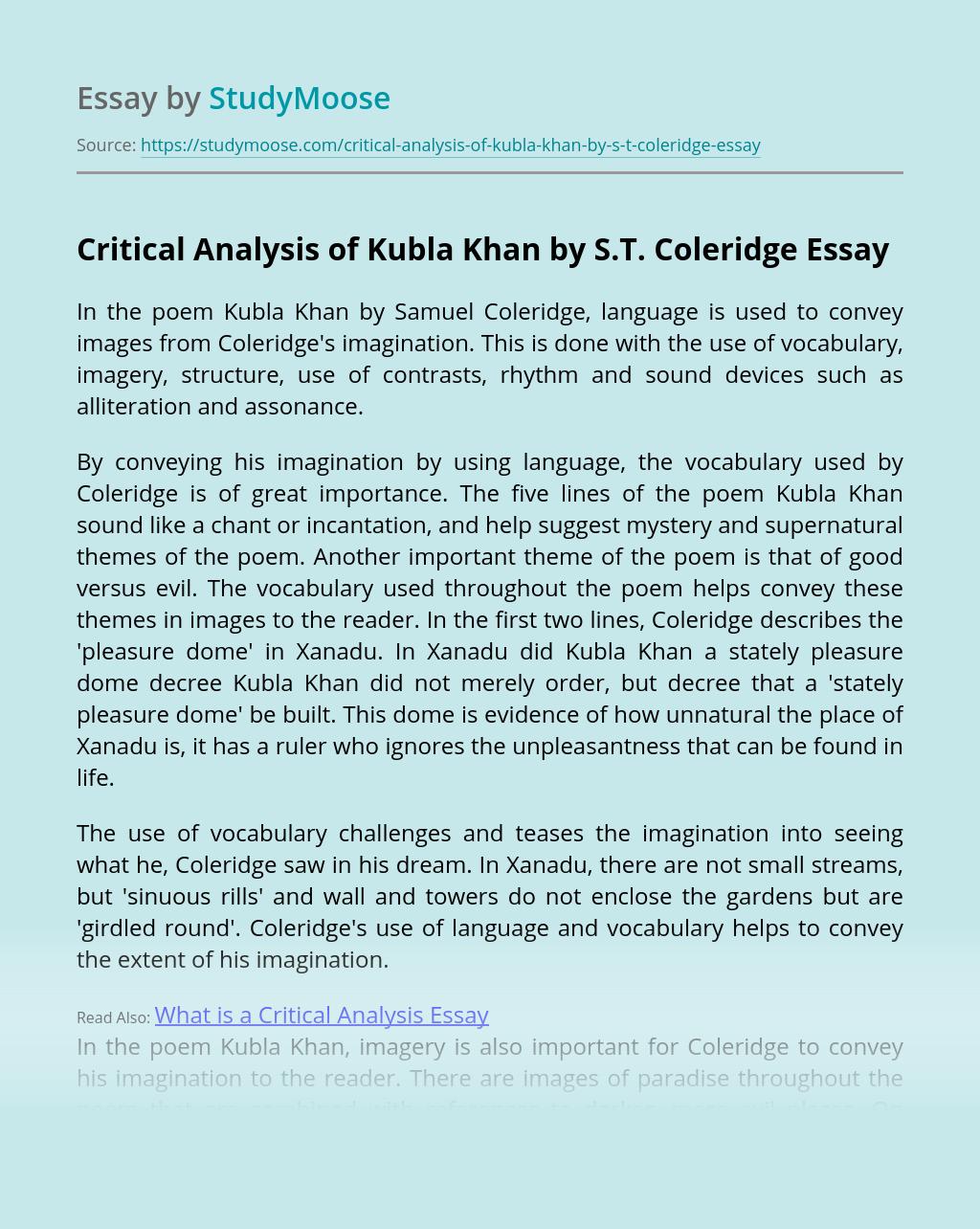 Kubla Khan Poem Line By Analysi Pdf Samuel Taylor Coleridge Theme