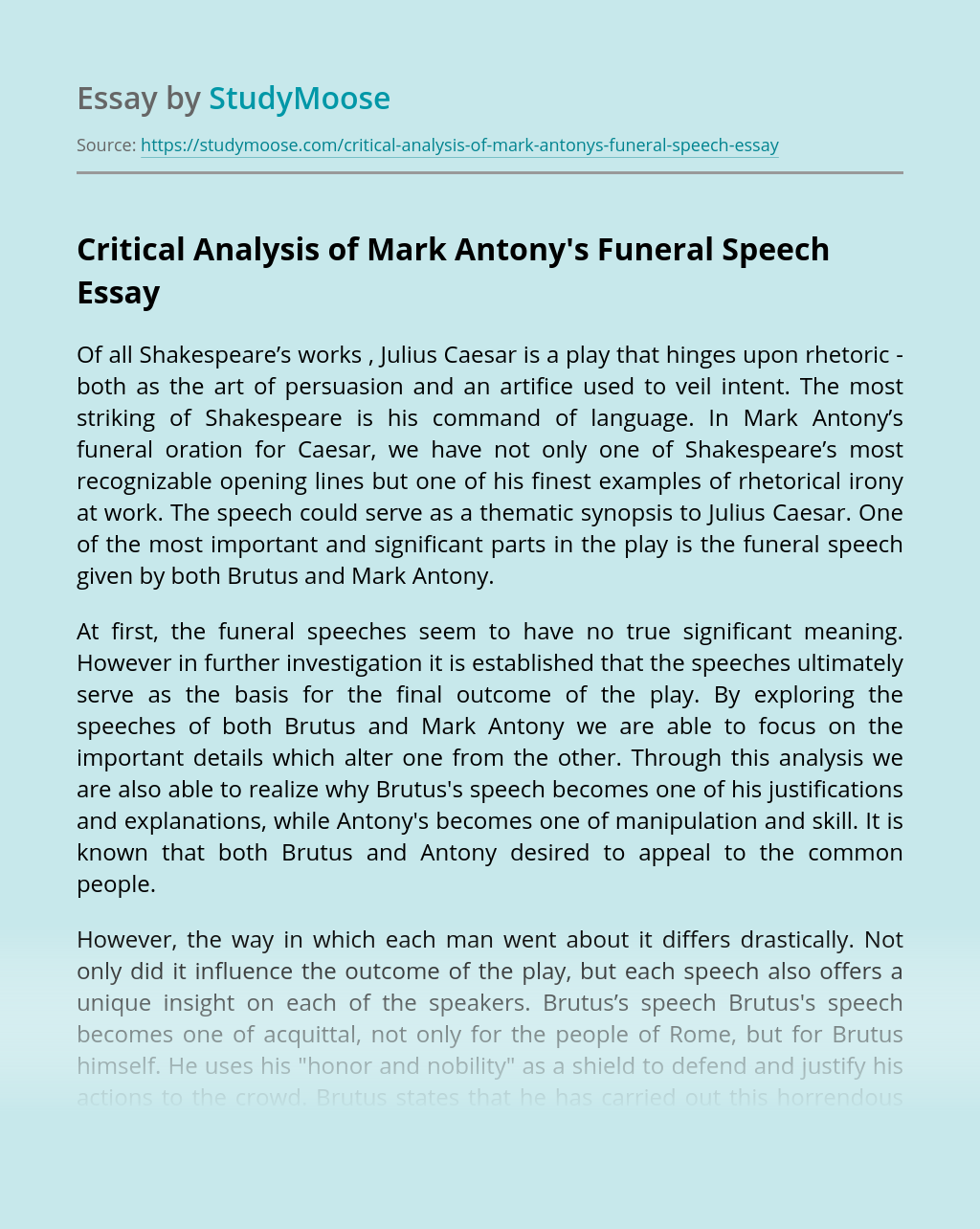 Critical Analysis of Mark Antony's Funeral Speech