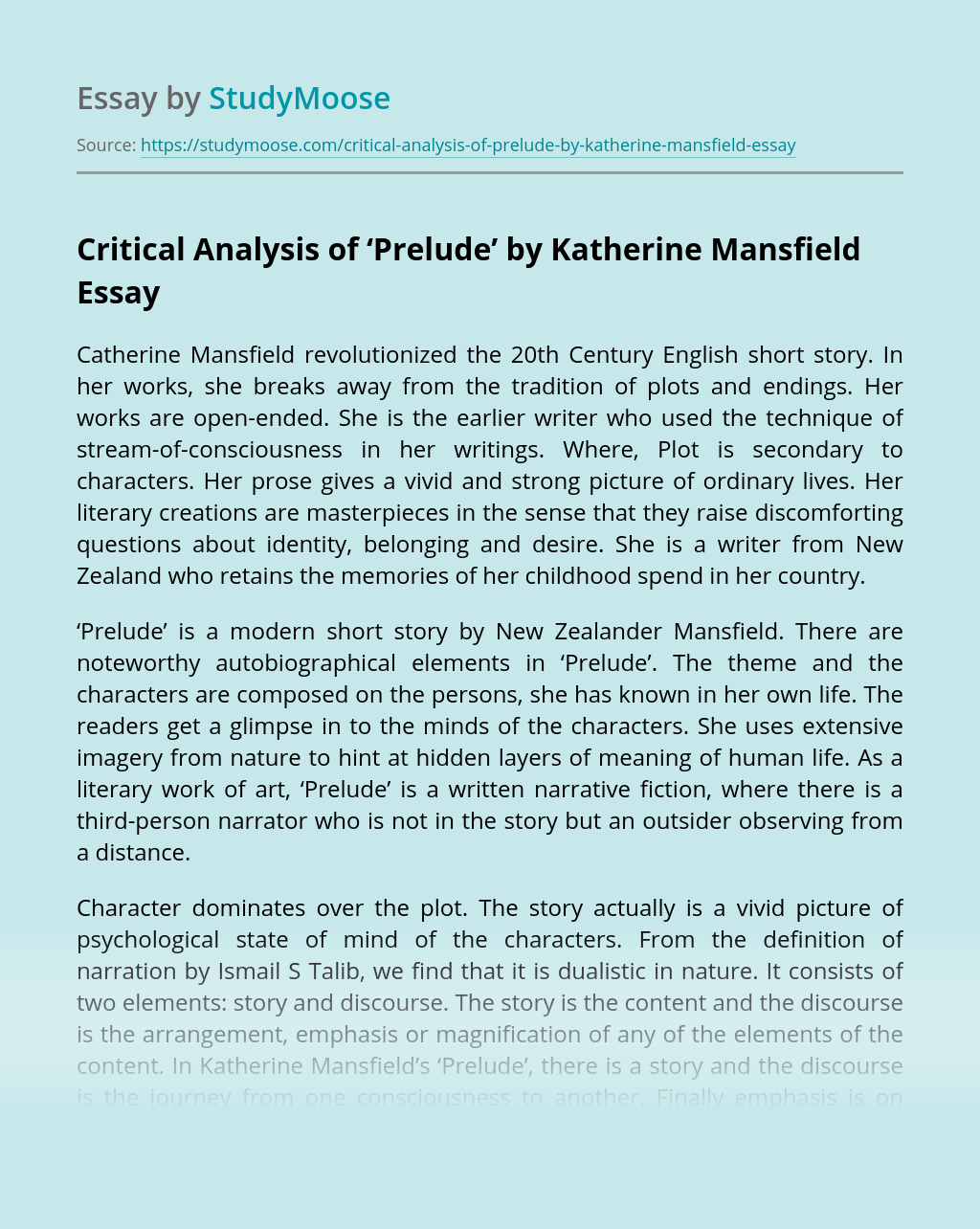 Critical Analysis of 'Prelude' by Katherine Mansfield