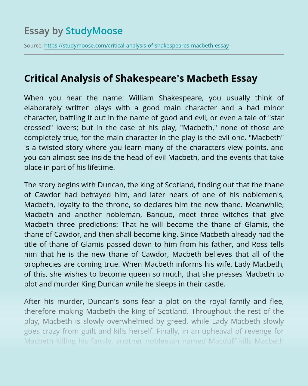 Critical Analysis of Shakespeare's Macbeth