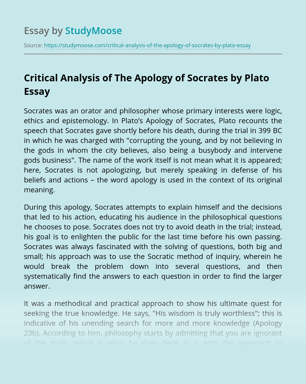Critical Analysis of The Apology of Socrates by Plato