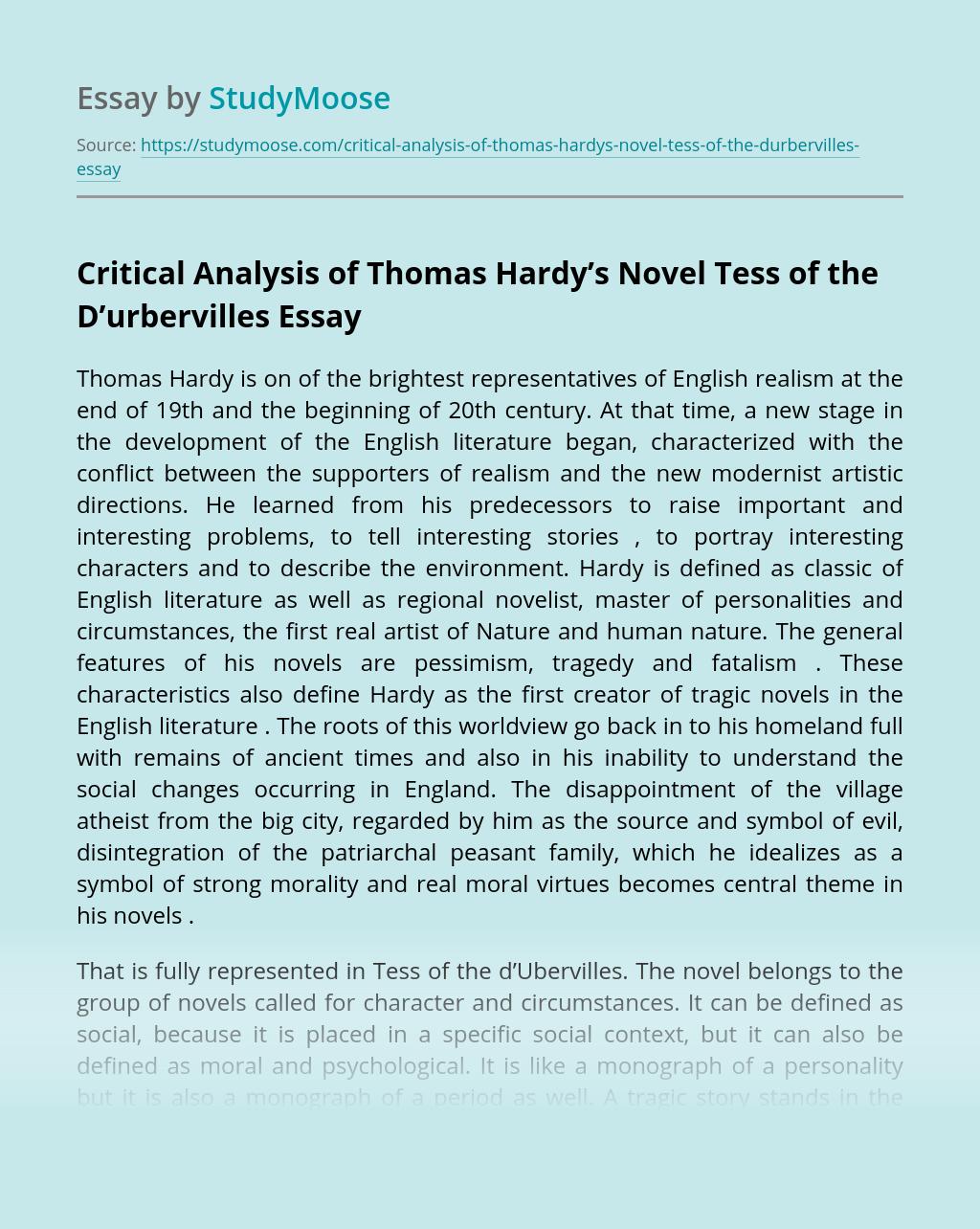 Critical Analysis of Thomas Hardy's Novel Tess of the D'urbervilles