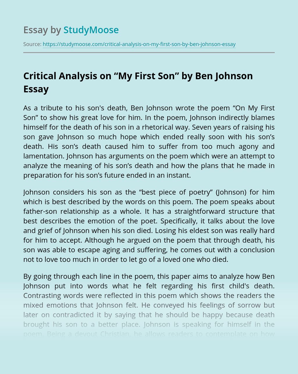 "Critical Analysis on ""My First Son"" by Ben Johnson"