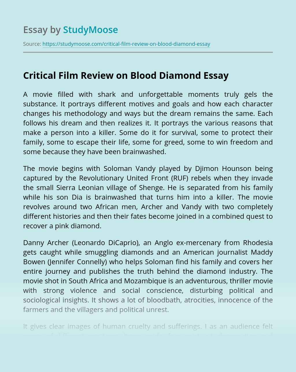 Critical Film Review on Blood Diamond