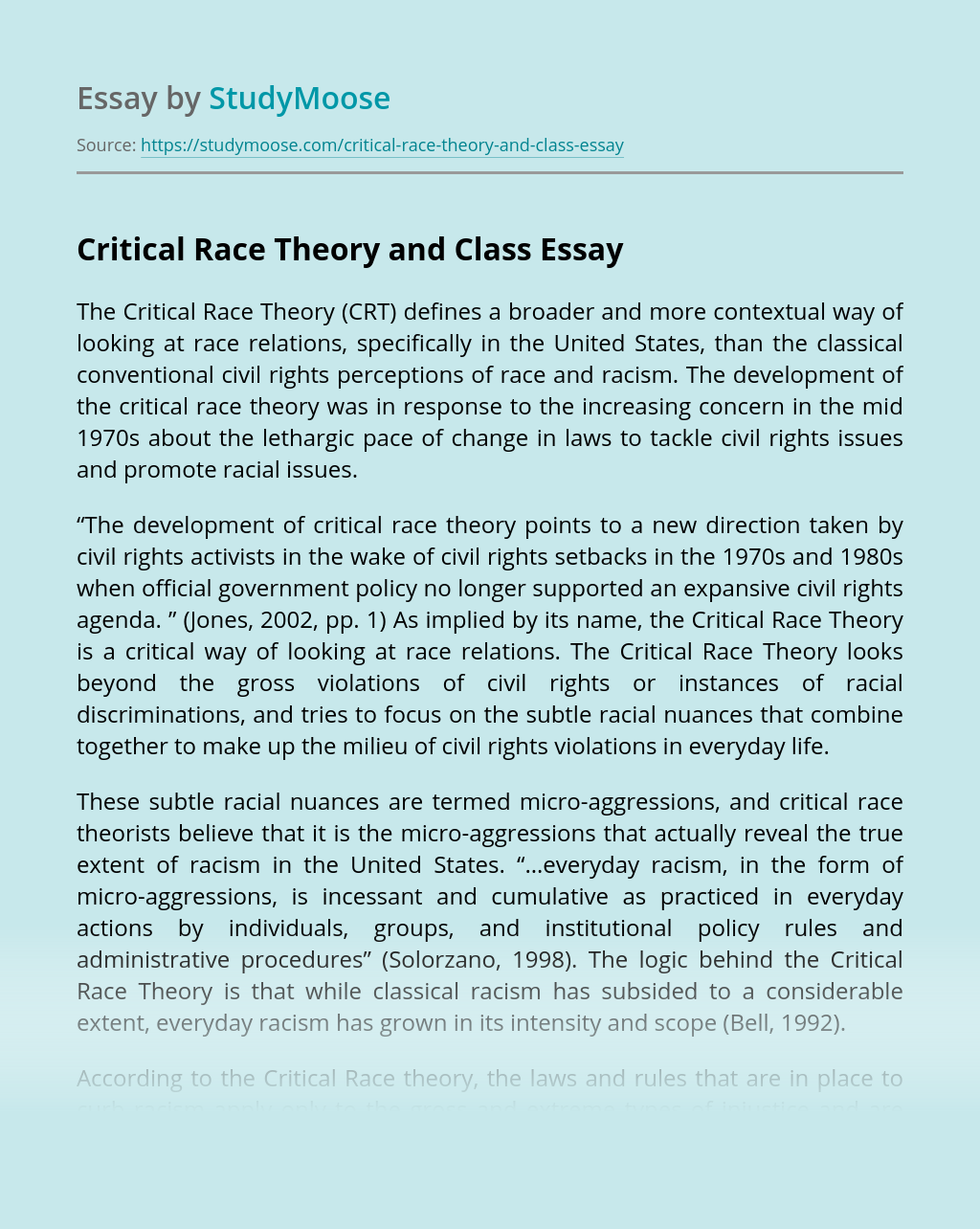 Critical Race Theory and Class