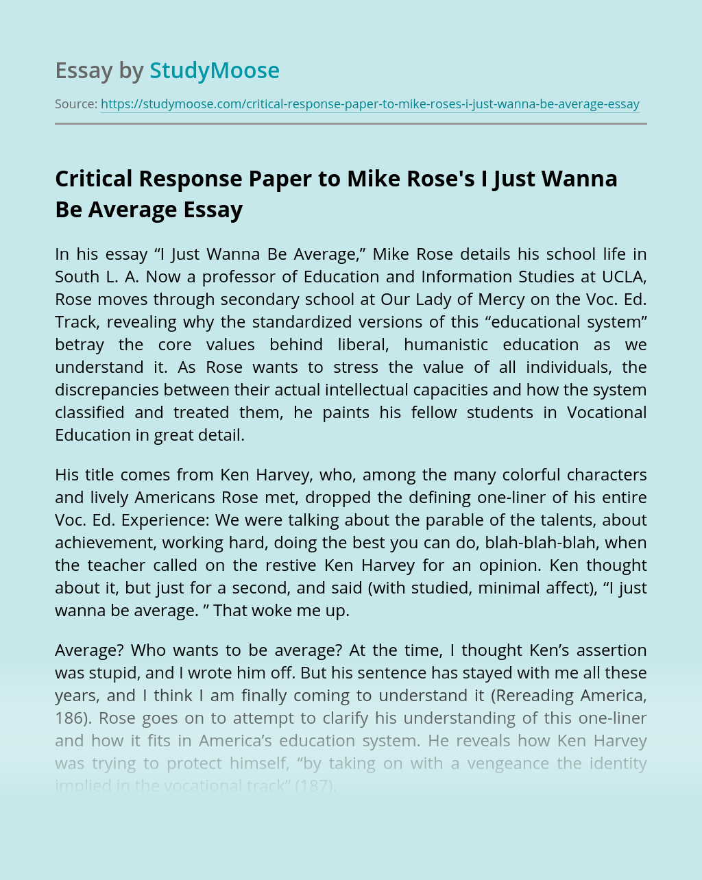 Critical Response Paper to Mike Rose's I Just Wanna Be Average