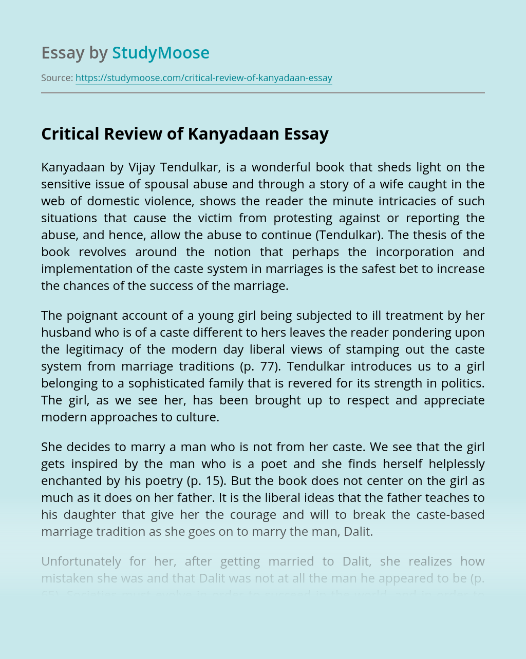 Critical Review of Kanyadaan